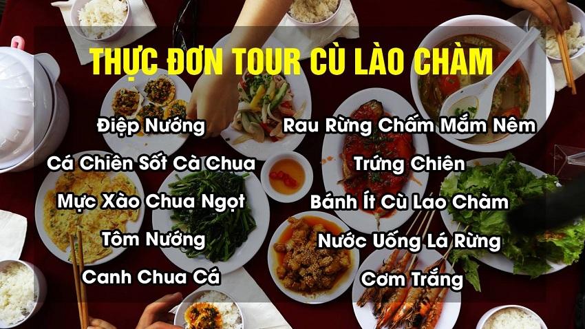Thực đơn trong Tour du lịch Cù Lao Chàm